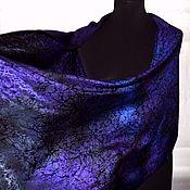 Аксессуары handmade. Livemaster - original item Scarf stole purple blue black jacquard women`s long. Handmade.