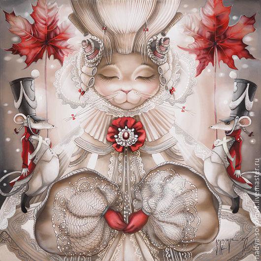 Фантазийные сюжеты ручной работы. Ярмарка Мастеров - ручная работа. Купить Дева. Handmade. Белый, кошка, мыши, искусственный шёлк