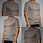 Мужская одежда handmade. Livemaster - original item Knitted from flax .Short sleeve Grunge jumper. Handmade.