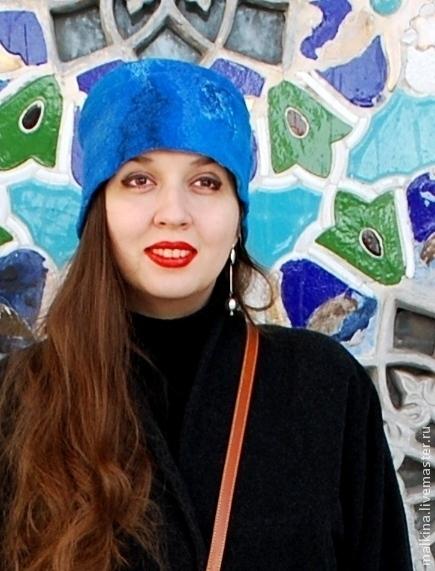 Шапки ручной работы. Ярмарка Мастеров - ручная работа. Купить Валяная шапка Синяя. Handmade. Синий, теплая шапка