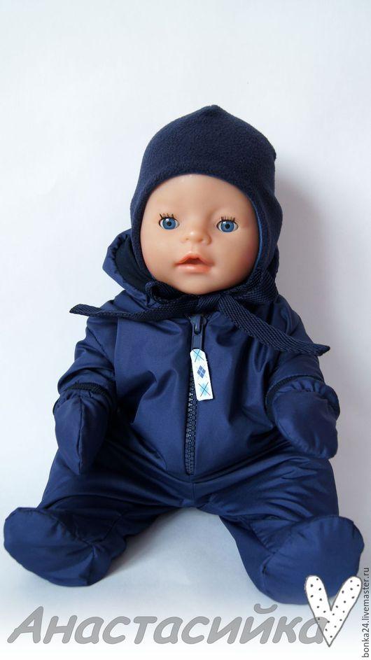 Одежда для кукол ручной работы. Ярмарка Мастеров - ручная работа. Купить Комбинезон из плащёвки для Беби Бон. Handmade. Тёмно-синий