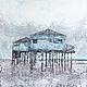 Пейзаж ручной работы. Ярмарка Мастеров - ручная работа. Купить Пляжный домик. Handmade. Голубой, серый, море, дом, мастихин
