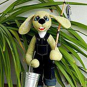 Куклы и игрушки ручной работы. Ярмарка Мастеров - ручная работа Зайка рыбак. Handmade.