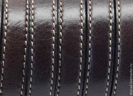 Для украшений ручной работы. Ярмарка Мастеров - ручная работа. Купить Кожаный шнур с прострочкой 10х2мм  темно-коричневый. Испания. Handmade.