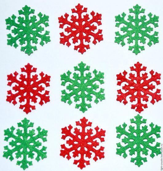 """Валяние ручной работы. Ярмарка Мастеров - ручная работа. Купить Вырубка из фетра п/э 100% 3 мм """"Рождественские снежинки"""". Handmade."""