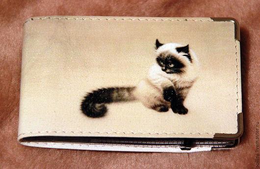"""Кошельки и визитницы ручной работы. Ярмарка Мастеров - ручная работа. Купить визитница """"Сиамский котик"""". Handmade. Рисунок, сиамская кошка"""