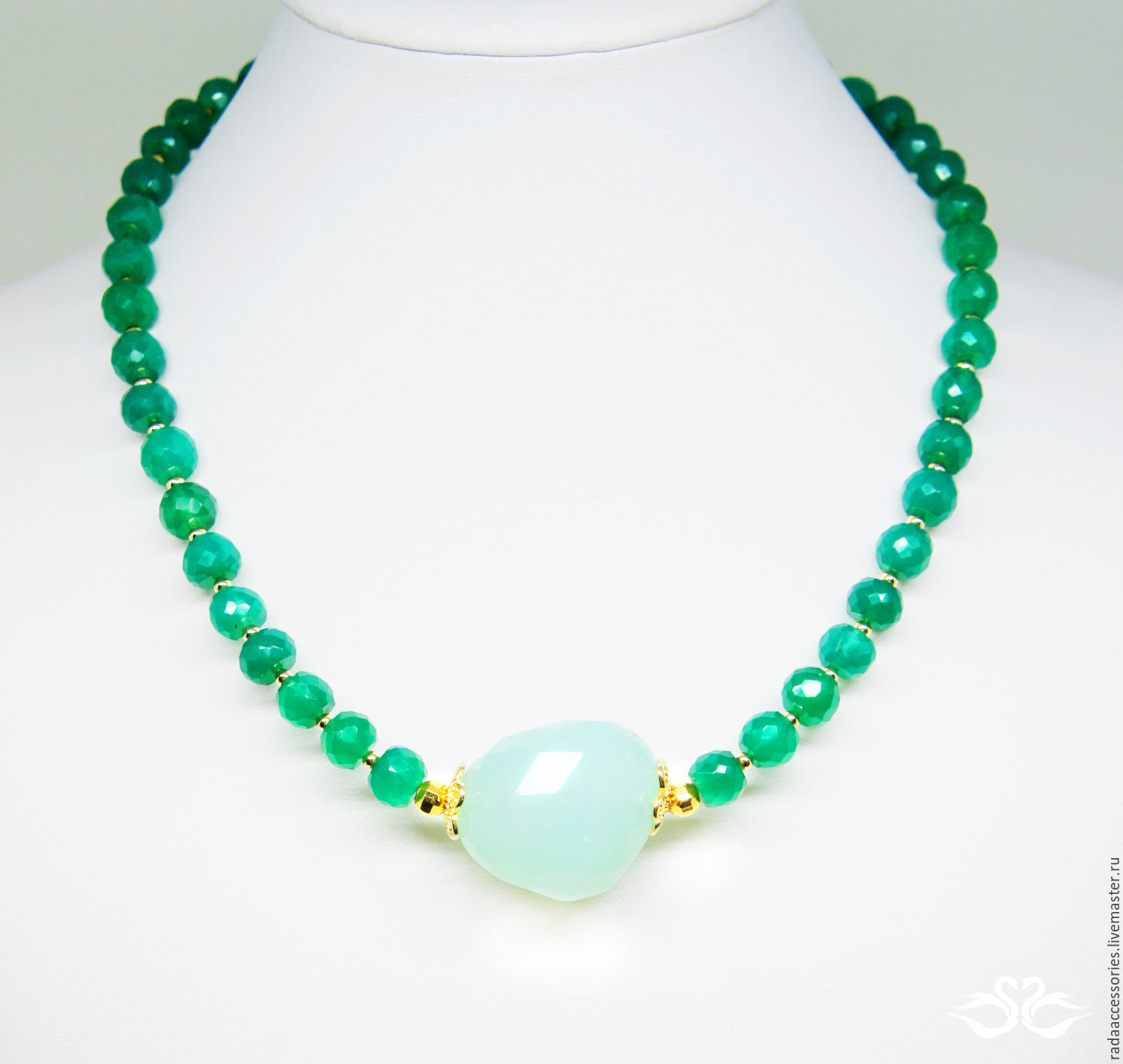 spring gold with chain filled necklace on chrysoprase products clasp