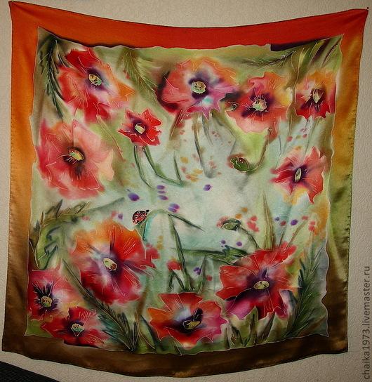 Шали, палантины ручной работы. Ярмарка Мастеров - ручная работа. Купить Платки с цветами. Handmade. Цветочный, Лили