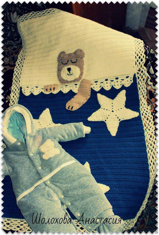 """Пледы и одеяла ручной работы. Ярмарка Мастеров - ручная работа. Купить Пледик """"Умка"""". Handmade. Синий, белый, плед для новорожденного"""