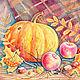 """Натюрморт ручной работы. Ярмарка Мастеров - ручная работа. Купить Картина в рамке """"Дары осени"""". Handmade. Осень, подарок, Рябина"""