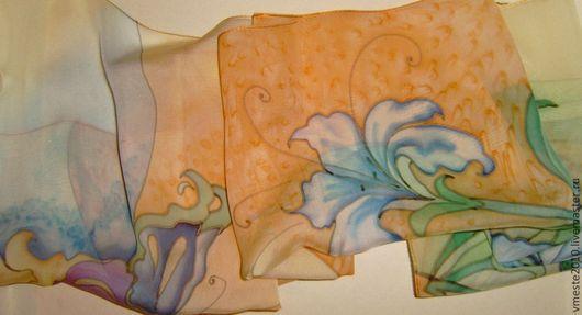 Шарфы и шарфики ручной работы. Ярмарка Мастеров - ручная работа. Купить Синие цветы в дюнах. Handmade. Разноцветный, батик шарф
