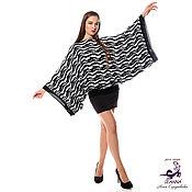 """Одежда ручной работы. Ярмарка Мастеров - ручная работа Джемпер-кимоно вязаный """"Черно-белая зебра"""" теплый один на 3 размера. Handmade."""