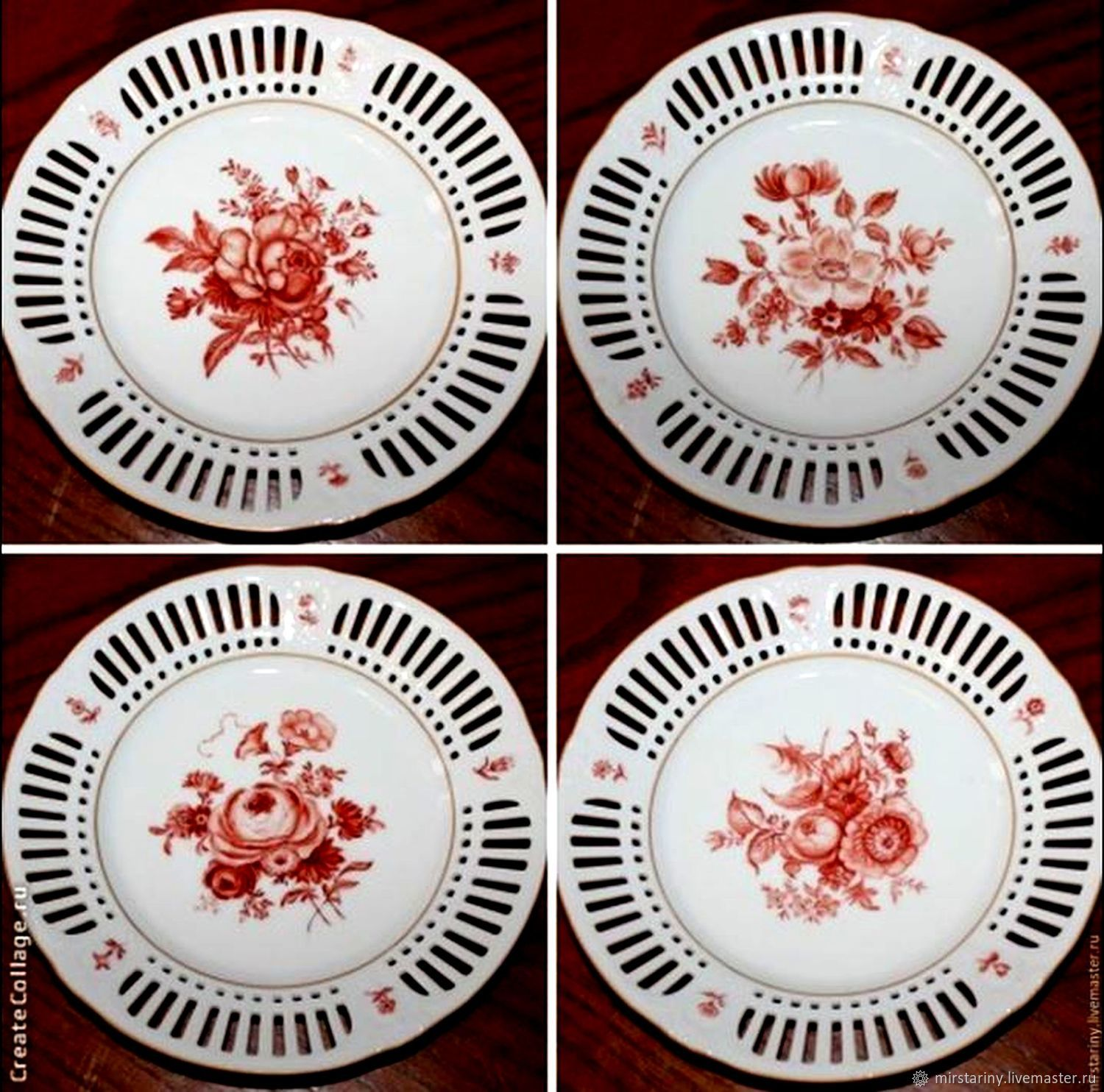 Plates 'ROSES', hand-painted, slotted porcelain, Schumann, Vintage plates, Moscow,  Фото №1