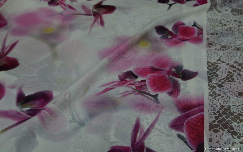 Креп шифон шелковый Blumarine с орхидеями, Ткани, Москва,  Фото №1