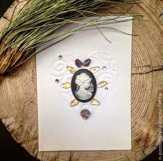 """Открытки на все случаи жизни ручной работы. Ярмарка Мастеров - ручная работа. Купить Открытка """"Камея"""" с натуральными камнями и стразами. Handmade."""