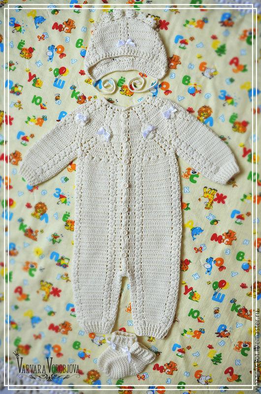 Для новорожденных, ручной работы. Ярмарка Мастеров - ручная работа. Купить Комплект для новорожденного «Молочная сказка». Handmade. Однотонный, для новорожденной