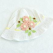 Аксессуары handmade. Livemaster - original item Knitted hat with flowers for girls. Handmade.