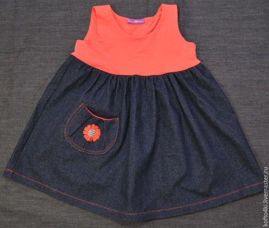 Одежда для девочек, ручной работы. Ярмарка Мастеров - ручная работа. Купить Платье джинсовое с верхом из кораллового футера. Handmade. Однотонный