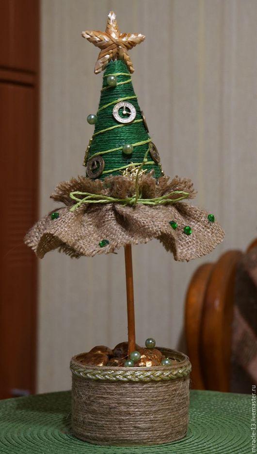 Новый год 2017 ручной работы. Ярмарка Мастеров - ручная работа. Купить Ёлочка новогодняя. Handmade. Зеленый, льняной, бусины для украшений