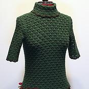 Одежда handmade. Livemaster - original item Cashmere sweater. emerald. Crochet. Handmade.