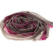 Аксессуары ручной работы. Ярмарка Мастеров - ручная работа Палантин из неокрашенного кашемира с ярко-розовым узором. Handmade.