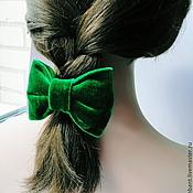 Украшения ручной работы. Ярмарка Мастеров - ручная работа Бант Бархатный Зеленый. Handmade.