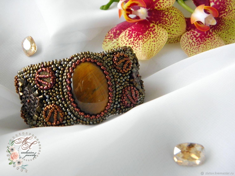 Браслет с тигровым глазом. Красивый браслет. коричневый браслет.