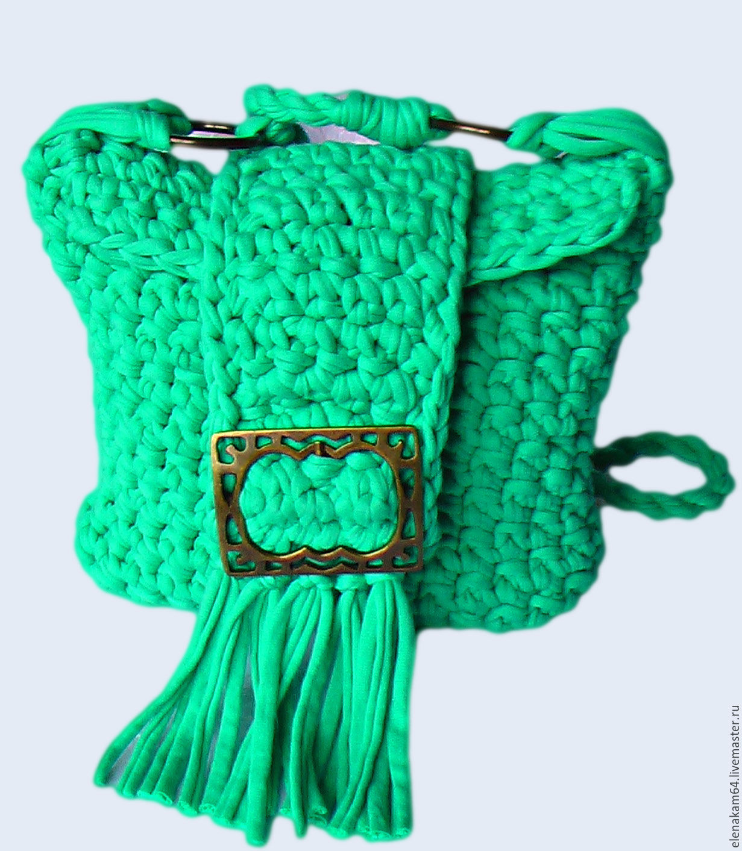 Женские сумки ручной работы. Ярмарка Мастеров - ручная работа. Купить Сумка вязаная   'Изумруд'. Handmade. Сумки, изумрудный цвет