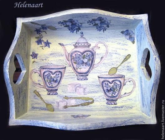"""Кухня ручной работы. Ярмарка Мастеров - ручная работа. Купить Поднос """"Чаепитие"""". Handmade. Голубой, поднос для завтрака, поднос деревянный"""