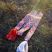 """Ремни ручной работы. Ярмарка Мастеров - ручная работа Пояс """"Северный """" бело-красный. Handmade."""