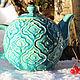 """Чайники, кофейники ручной работы. Ярмарка Мастеров - ручная работа. Купить """"Azure"""" чайник керамический. Handmade. Бирюзовый, Керамика, зима"""
