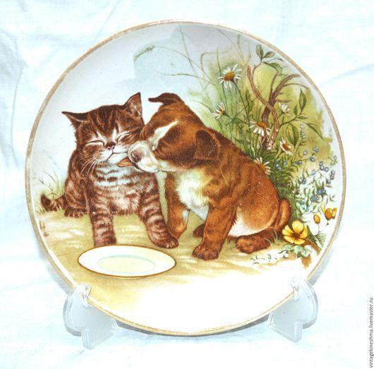 """Винтажная посуда. Ярмарка Мастеров - ручная работа. Купить Красивая коллекционная тарелочка """"Щенок с котёнком"""". Handmade. Комбинированный, антиквариат, фарфор"""