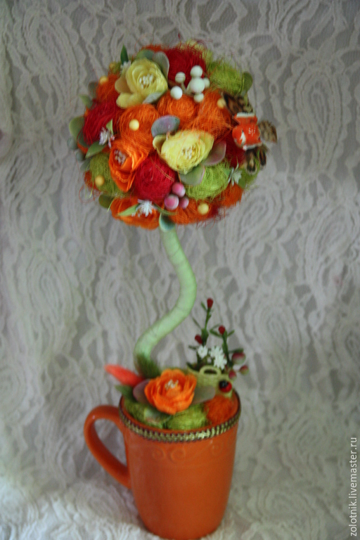 """Топиарии ручной работы. Ярмарка Мастеров - ручная работа. Купить Топиарий """"Осенний вальс"""". Handmade. Рыжий, интерьер детской, камелия"""