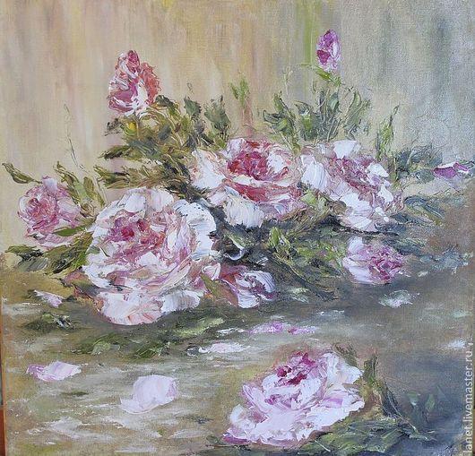 """Натюрморт ручной работы. Ярмарка Мастеров - ручная работа. Купить Постер """"Розовый вечер"""". Handmade. Бежевый, розы, Воспоминание, сад"""