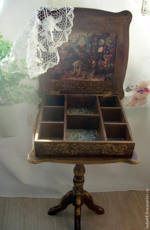 Мебель ручной работы. Ярмарка Мастеров - ручная работа. Купить Столик для рукоделия. Handmade. Коричневый, столик журнальный, столик для хранения