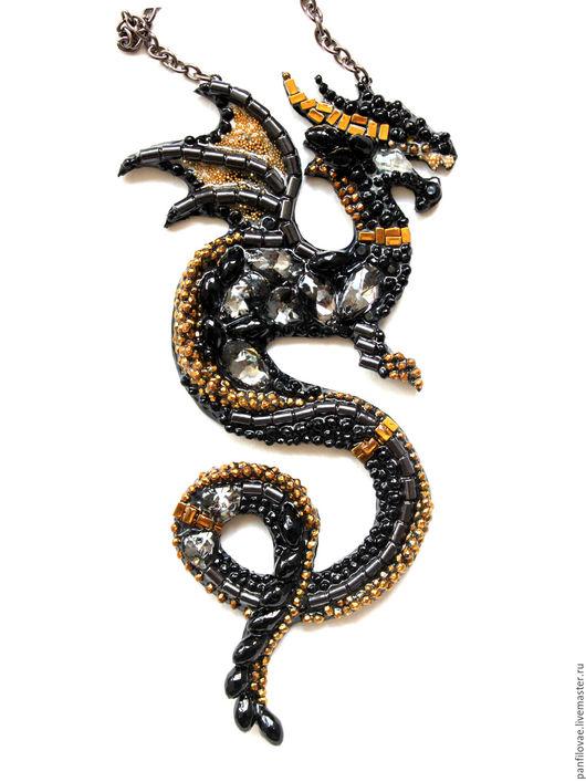 Колье, бусы ручной работы. Ярмарка Мастеров - ручная работа. Купить Черный дракон. Handmade. Черный, украшение с характером, гематит