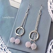 Украшения handmade. Livemaster - original item Easy earrings extra long chain silver with quartz. Handmade.