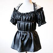 Одежда ручной работы. Ярмарка Мастеров - ручная работа Черный топ с открытыми плечами готический стиль стимпанк. Handmade.