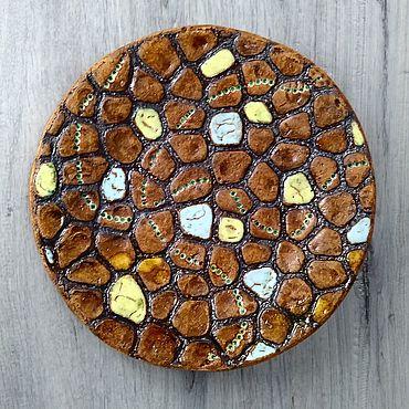 Посуда ручной работы. Ярмарка Мастеров - ручная работа Тарелки: Блюдо золотистые камушки 28 см. Handmade.