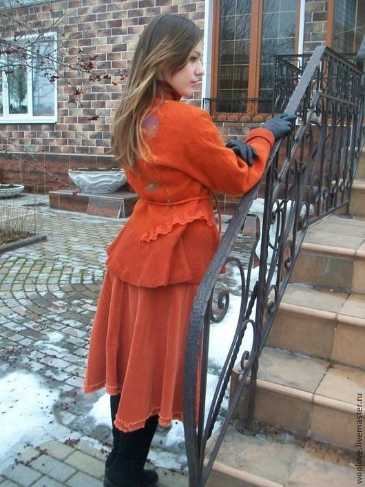 """Верхняя одежда ручной работы. Ярмарка Мастеров - ручная работа. Купить жакет валяный """" Терракотовый"""". Handmade. Рыжий"""
