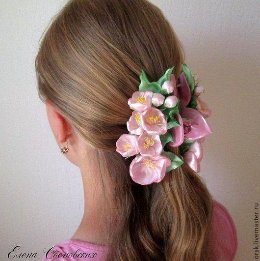"""Заколки ручной работы. Ярмарка Мастеров - ручная работа. Купить краб для волос  """"Весна"""". Handmade. Бледно-розовый, краб для волос"""