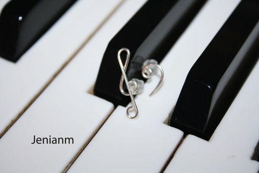 """Серьги ручной работы. Ярмарка Мастеров - ручная работа. Купить Серьги """"Ключи от музыки"""". Handmade. Музыка, сережки, серебряные серьги"""