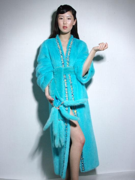 """Верхняя одежда ручной работы. Ярмарка Мастеров - ручная работа. Купить """"Кимоно"""" шуба бирюзовая норка.. Handmade. Бирюзовый, fur"""