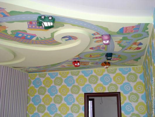Декор поверхностей ручной работы. Ярмарка Мастеров - ручная работа. Купить Декор Детской комнаты, роспись потолка. Handmade. Разноцветный
