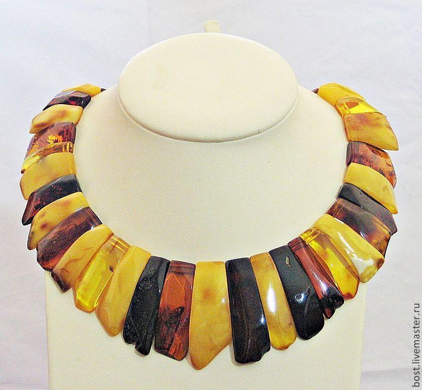 Колье, бусы ручной работы. Ярмарка Мастеров - ручная работа. Купить Ожерелье из разноцветного крупного янтаря. Handmade. Ожерелье