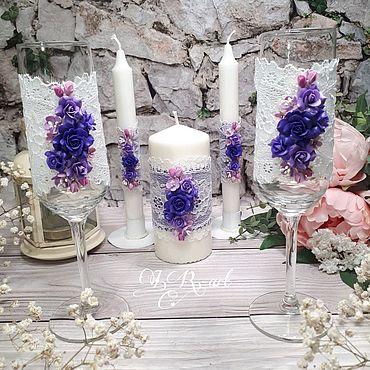 Свадебный салон ручной работы. Ярмарка Мастеров - ручная работа Свадебный набор бокалов и свечей. Handmade.