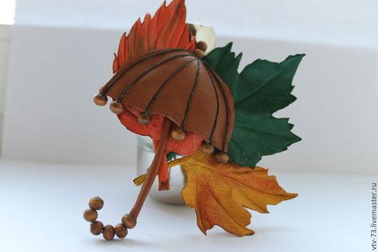 """Цветы ручной работы. Ярмарка Мастеров - ручная работа. Купить Брошь из кожи """"Осенний блюз"""". Handmade. Листья, брошь из кожи"""