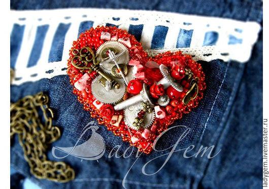 """Броши ручной работы. Ярмарка Мастеров - ручная работа. Купить Брошь """"ХардРоковое сердце"""". Handmade. Ярко-красный, сердце"""