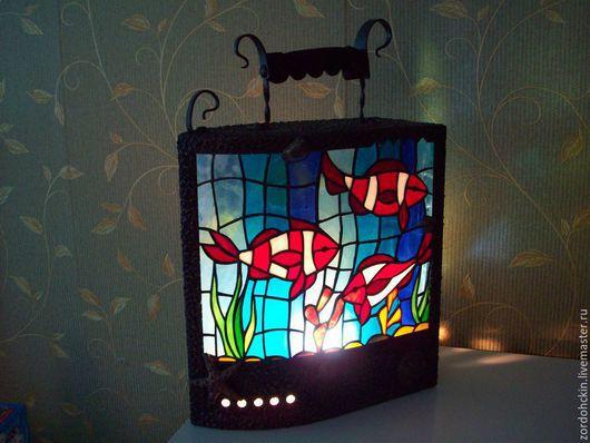 Элементы интерьера ручной работы. Ярмарка Мастеров - ручная работа. Купить витражи. Handmade. Стекло, цвет, море, светильник, латунь