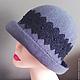 Шляпа серая с черным кружевом